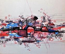 Rada Marković, ''Put prepreka'', kombinirana tehnika na platnu, 50x60 cm