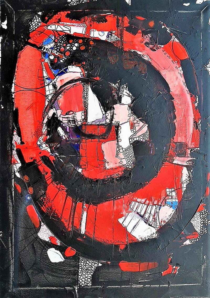 Rada Marković, ''Začarani krug'', kombinirana tehnika na platnu, 70x50 cm