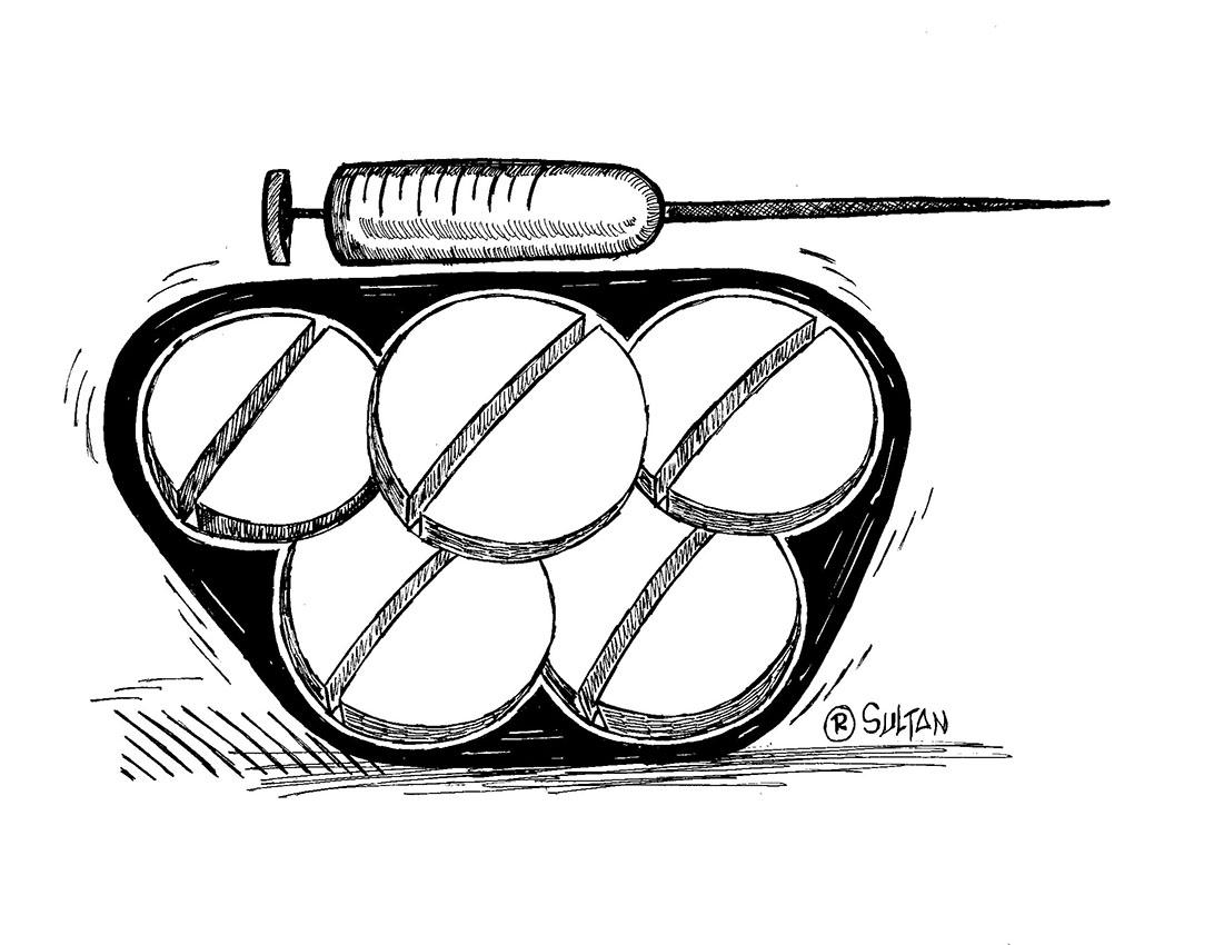 Rešad Sultanović Sultan, crtež 2, tuš na papiru, 21x30 cm