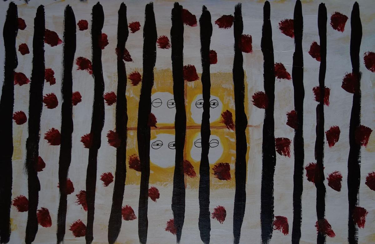 Roland Bilobrk, ''Korontena'', akril na kapafixu, 24x30 cm