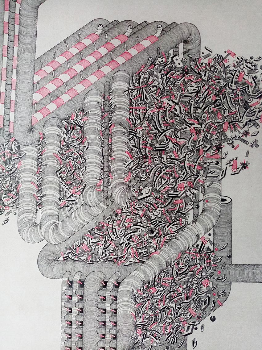 """Tin Samaržija, crtež 4 iz serije """"(Ne)red"""", tuš na papiru, 100x70 cm"""