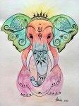 Valentina Kasapović, ''Ganesha - bog slon'', flomaster i akvarel, 29x21 cm