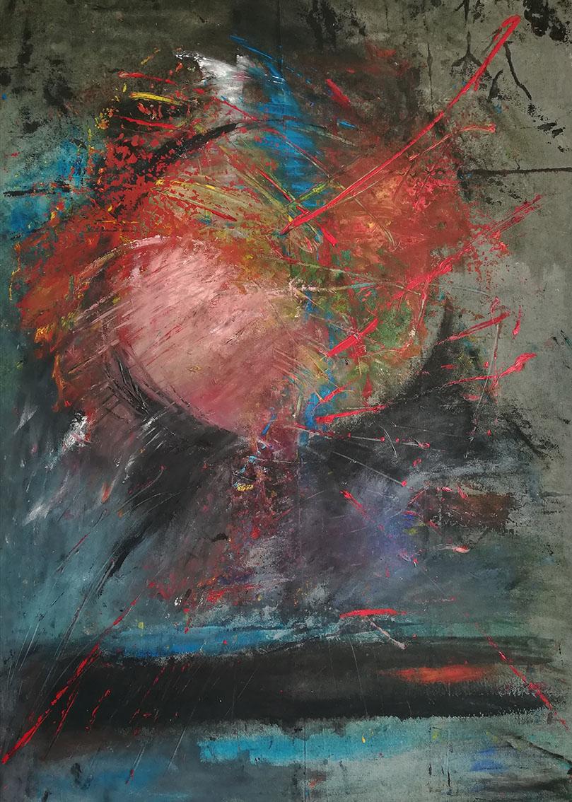 Vedran Ružić, ''Balon iznad Berlina'', akril na platnu, 150x110 cm