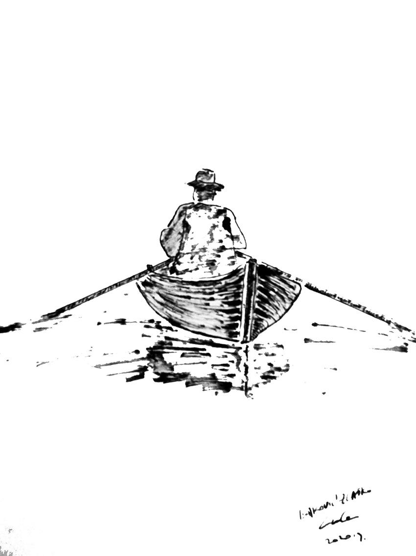 Zlatko Isaković, ''Barka'', tuš na papiru, 35x34 cm
