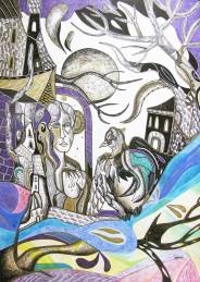 ''Glasnik novih vjetrova'', crtež tuš - kombinirana tehnika na papiru, 50×40 cm