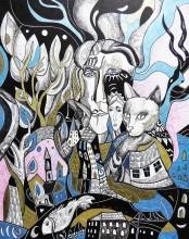 """""""Na izvoru"""", crtež tuš - kombinirana tehnika na papiru, 50×40 cm"""