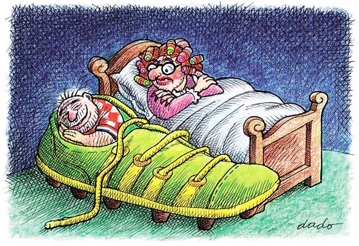 Dado Kovačević, ''Double bed'', crtež - flomaster, olovke u boji, A4
