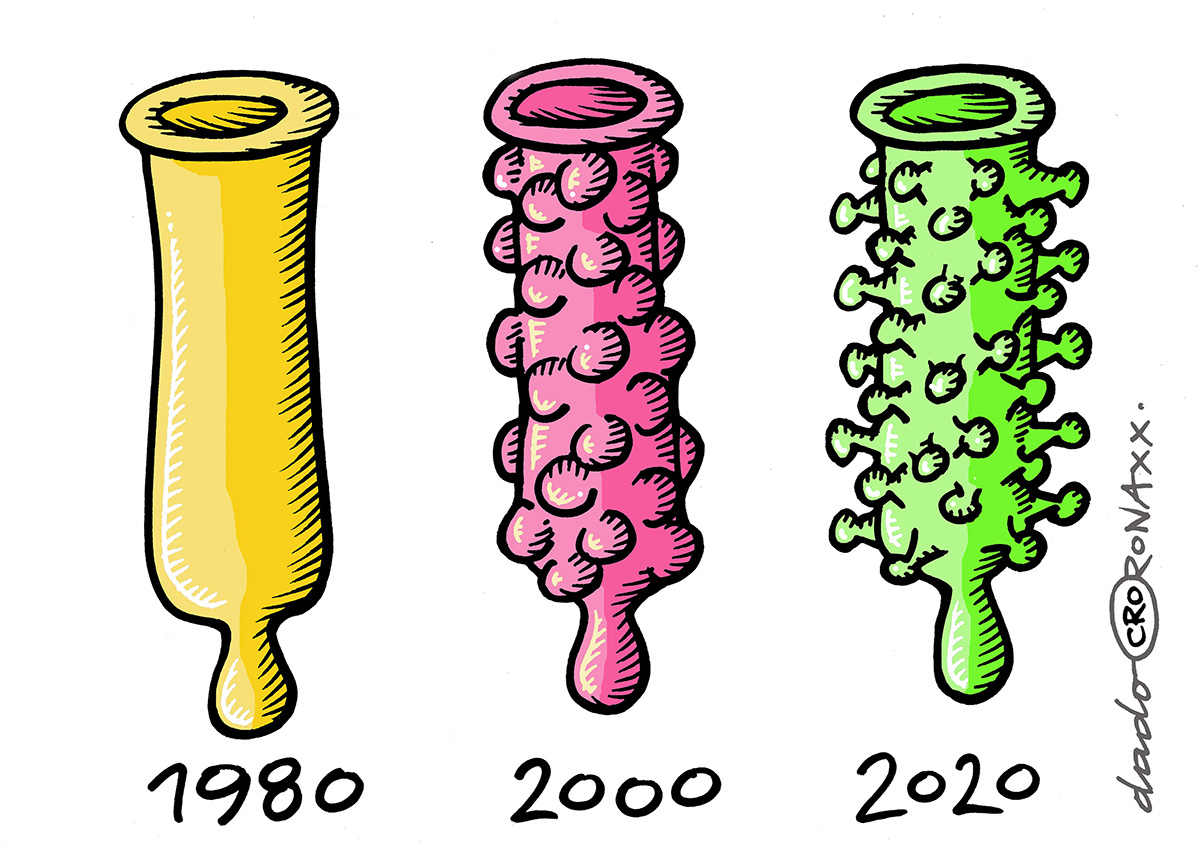 Dado Kovačević, ''Kondom-evolucija'', crtež - flomaster, bojano digitalno, A4