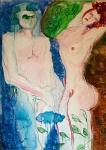 Magdalena Zovkić, ''Nebo i zemlja'', akrilna boja na papiru, 90×60 cm