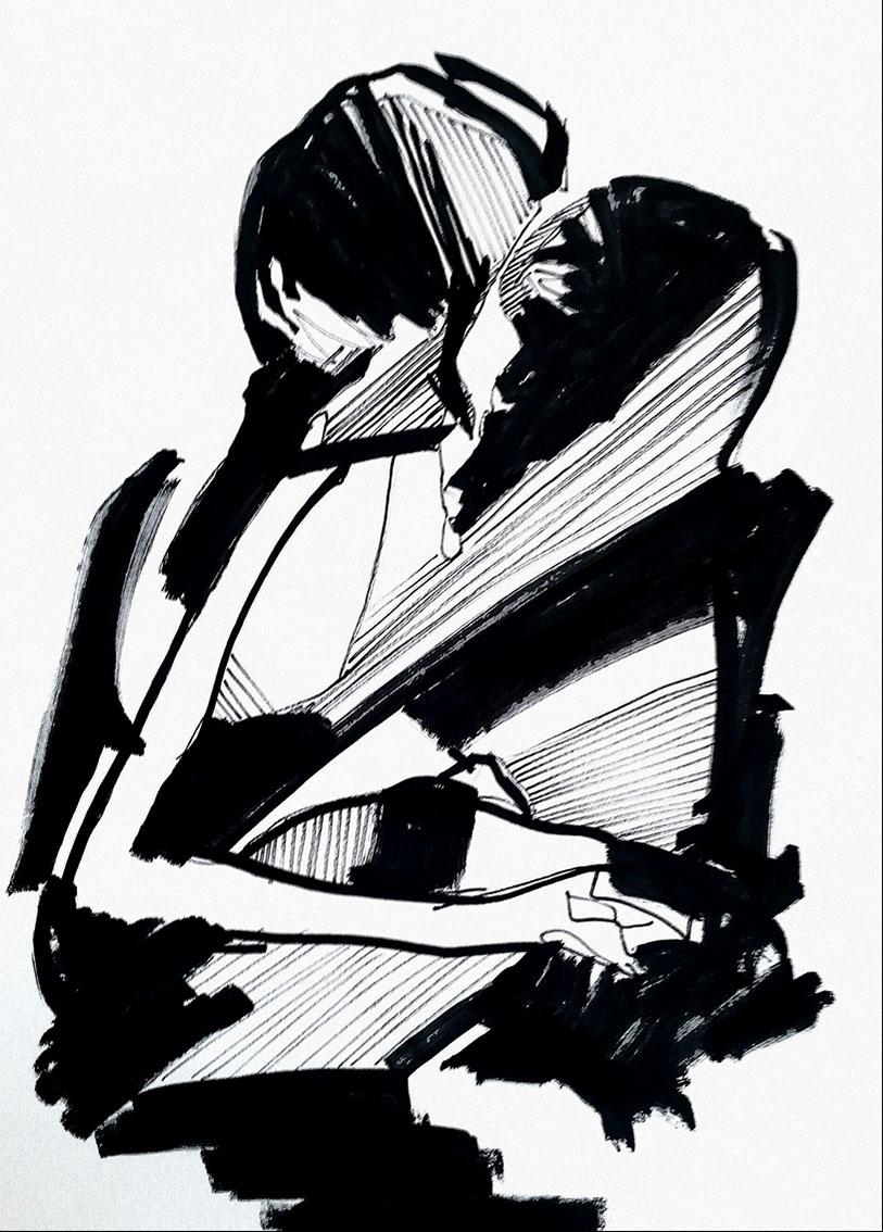 Rada Marković, ''Srcem i dušom'', tuš na papiru, 29x21 cm