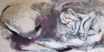 Silvia Golja, ''Akt'', kombinirana tehnika akrila i ugljena na platnu, 100x200 cm