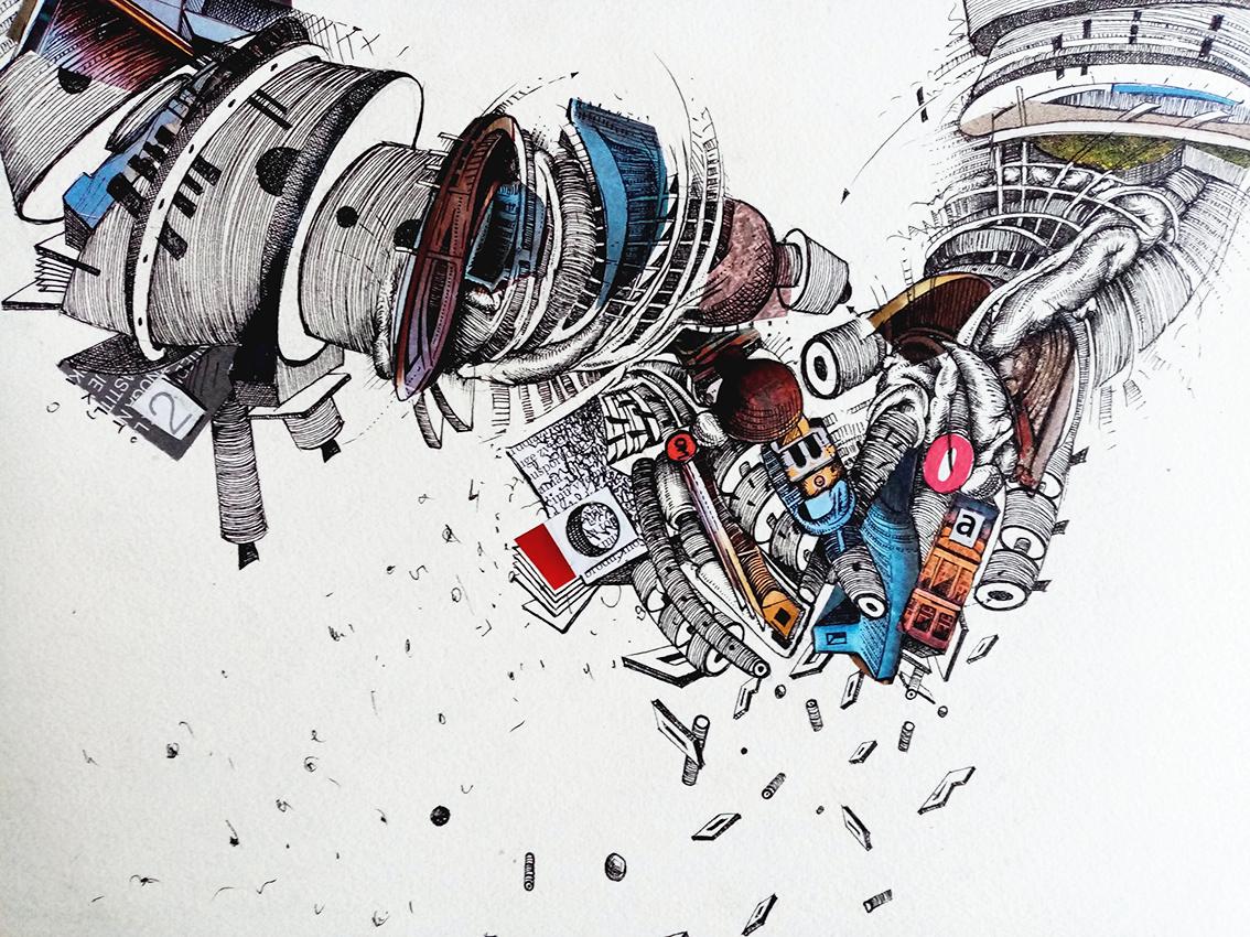 """Tin Samaržija, """"Intima"""", crtež rapidografom i kolaž, 25x35 cm"""