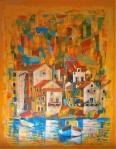 Hrid Matić, ''Komiška impresija'', akril na platnu, 50x40 cm