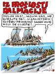 Joško Marušić, ''Iz prošlosti Dalmacije'', karikatura, outline tuš i računalna obrada