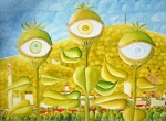 Juraj Jonke, ''Biljke vidjelice (Zg poslije potresa)'', ulje na platnu, 50x70 cm