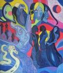 Krešimira Gojanović, ''Moon Transformations'', akril na platnu, 70x60 cm