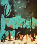 Silvia Golja, ''A little bit of darkness refines the senses'', kombinirana tehnika na platnu, 60x50 cm