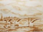 Tomislav Devčić, ''Stari most u Sisku'', crna kava na papiru, A4