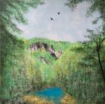 Valentina Kasapović, ''Podrška s neba'', enkaustika na MDF ploči, 60x60 cm