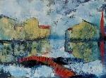 Višnja Peter, ''Crveni most'', ulje na platnu, 60x80 cm
