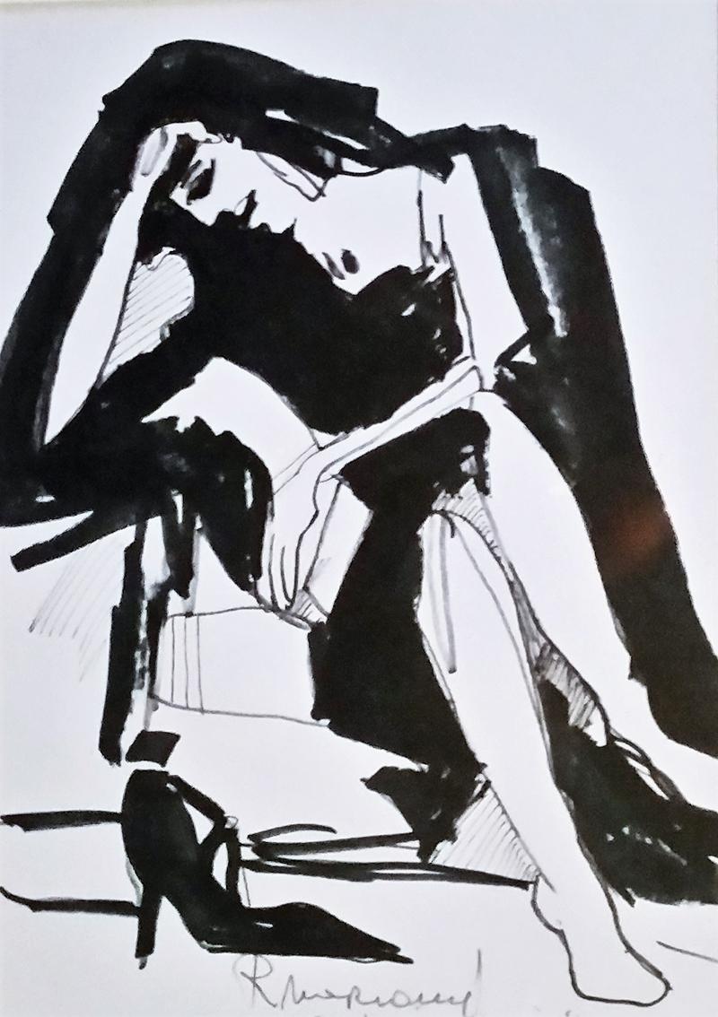 Rada Marković, iz ciklusa ''Žene isklesane kroz vjekove'', crtež 9, tuš, kombinirana tehnika, 29x21 cm