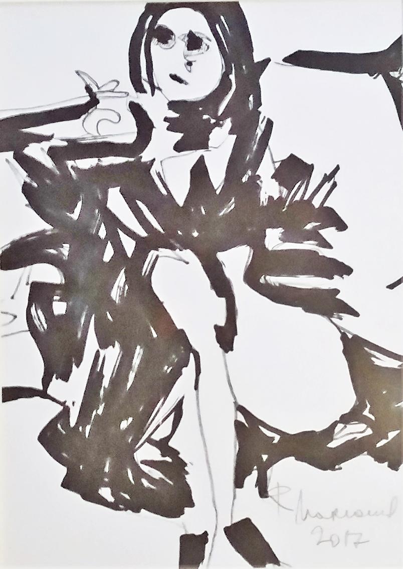Rada Marković, iz ciklusa ''Žene isklesane kroz vjekove'', crtež 10, tuš, kombinirana tehnika, 29x21 cm