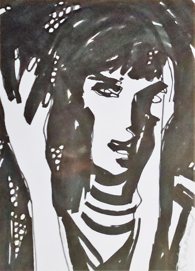 Rada Marković, iz ciklusa ''Žene isklesane kroz vjekove'', crtež 11, tuš, kombinirana tehnika, 29x21 cm