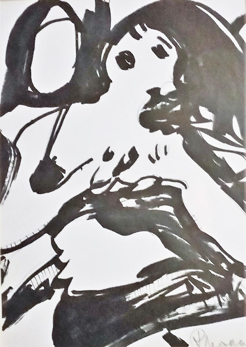 Rada Marković, iz ciklusa ''Žene isklesane kroz vjekove'', crtež 12, tuš, kombinirana tehnika, 29x21 cm