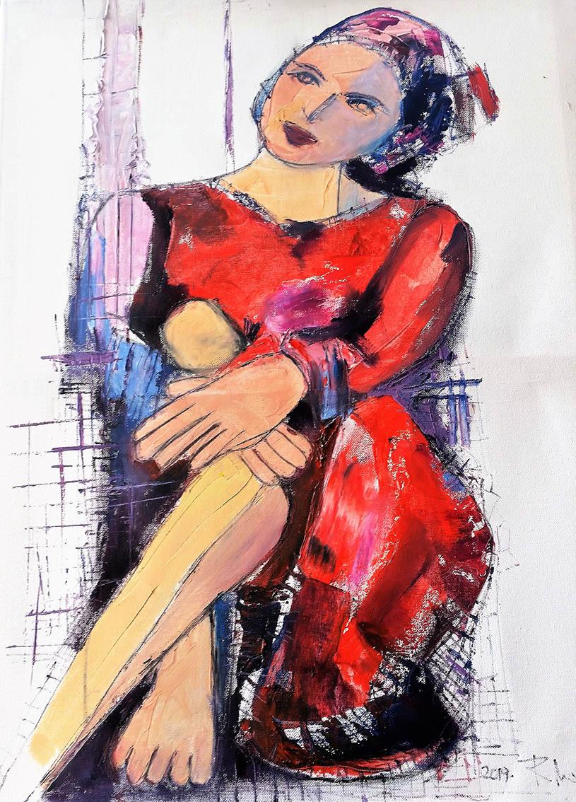 Rada Marković, iz ciklusa ''Žene isklesane kroz vjekove'', slika 4, ulje na platnu 60x50 cm