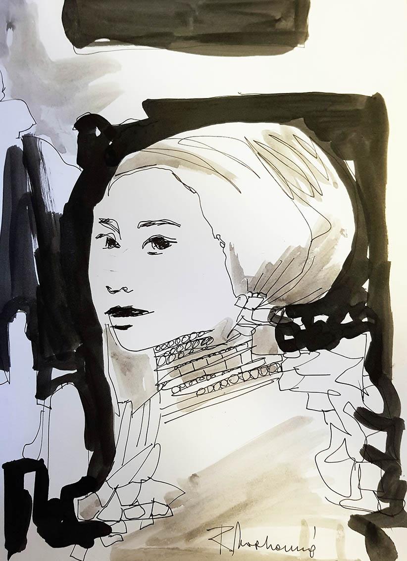 Rada Marković, iz ciklusa ''Žene isklesane kroz vjekove'', crtež 13, tuš, kombinirana tehnika, 29x21 cm