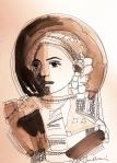 Rada Marković, iz ciklusa ''Žene isklesane kroz vjekove'', crtež 14, tuš, kombinirana tehnika, 29x21 cm