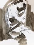 Rada Marković, iz ciklusa ''Žene isklesane kroz vjekove'', crtež 1, tuš, kombinirana tehnika, 29x21 cm