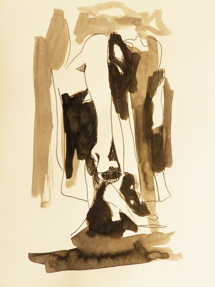 Rada Marković, iz ciklusa ''Žene isklesane kroz vjekove'', crtež 15, tuš, kombinirana tehnika, 29x21 cm