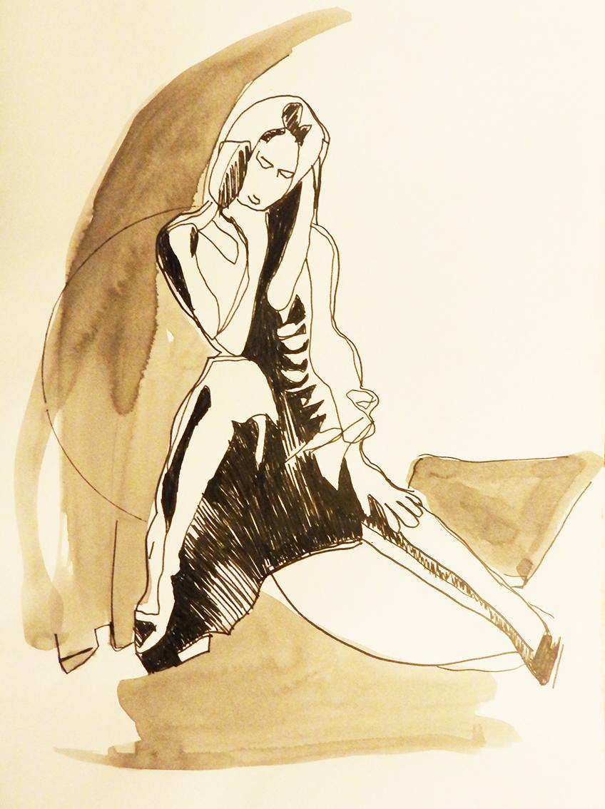 Rada Marković, iz ciklusa ''Žene isklesane kroz vjekove'', crtež 16, tuš, kombinirana tehnika, 29x21 cm