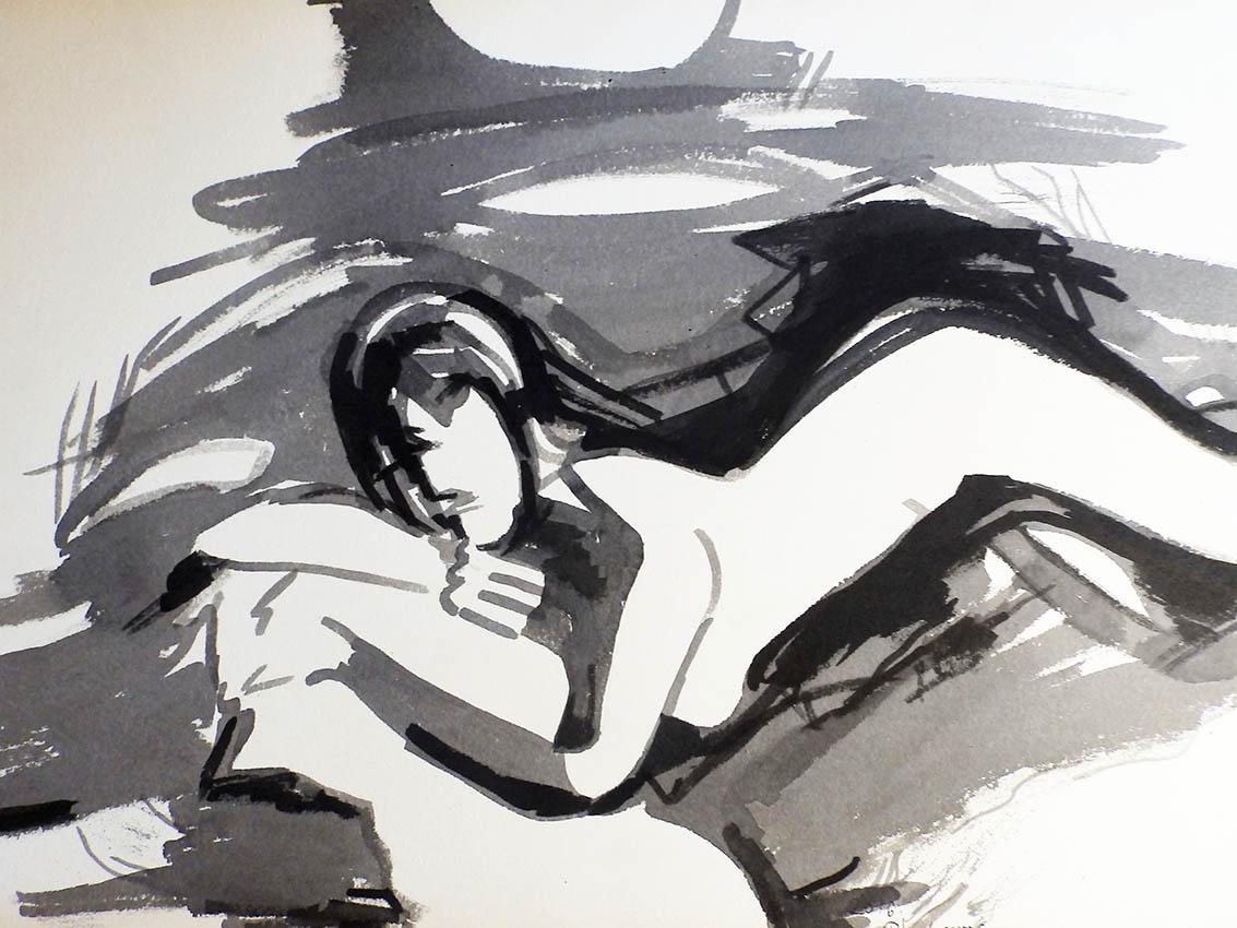 Rada Marković, iz ciklusa ''Žene isklesane kroz vjekove'', crtež 19, tuš, kombinirana tehnika, 21x29 cm