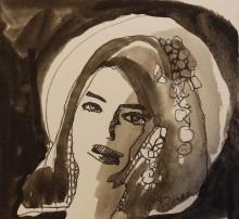 Rada Marković, iz ciklusa ''Žene isklesane kroz vjekove'', crtež 21, tuš, kombinirana tehnika, 25x27 cm