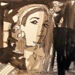 Rada Marković, iz ciklusa ''Žene isklesane kroz vjekove'', crtež 22, tuš, kombinirana tehnika, 25x25 cm