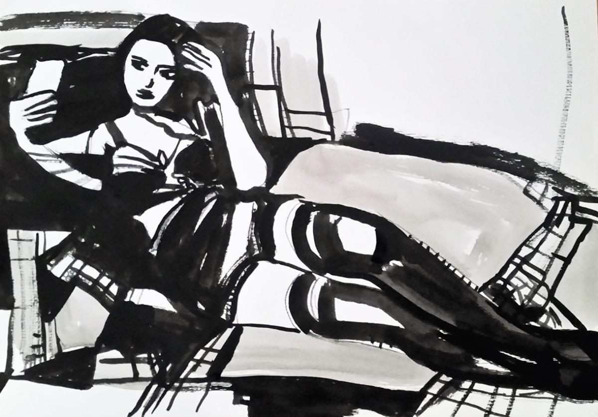 Rada Marković, iz ciklusa ''Žene isklesane kroz vjekove'', crtež 2, tuš, kombinirana tehnika, 21x29 cm