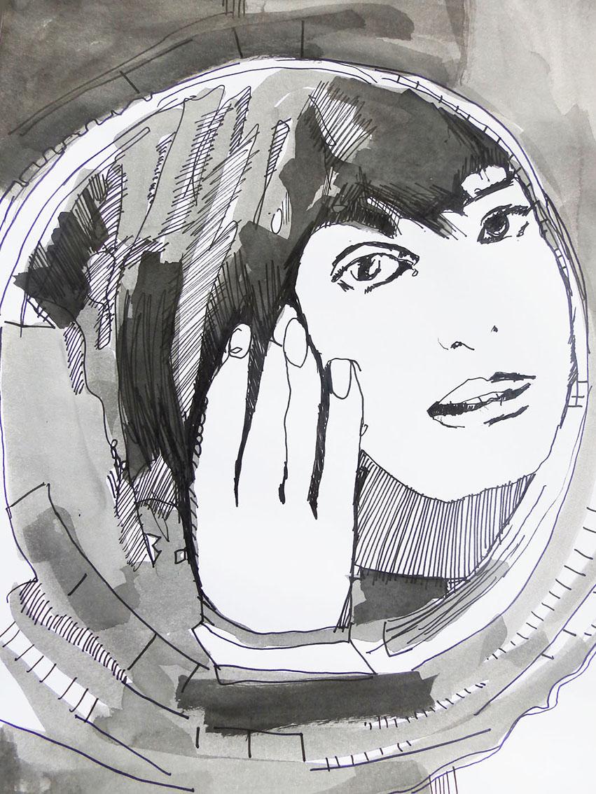 Rada Marković, ''Pred ogledalom'', kombinirana tehnika na papiru, 29x21 cm