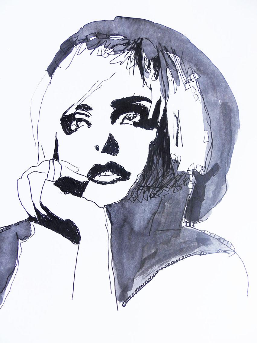 Rada Marković, ''Pogled 1'', kombinirana tehnika na papiru, 29x21 cm