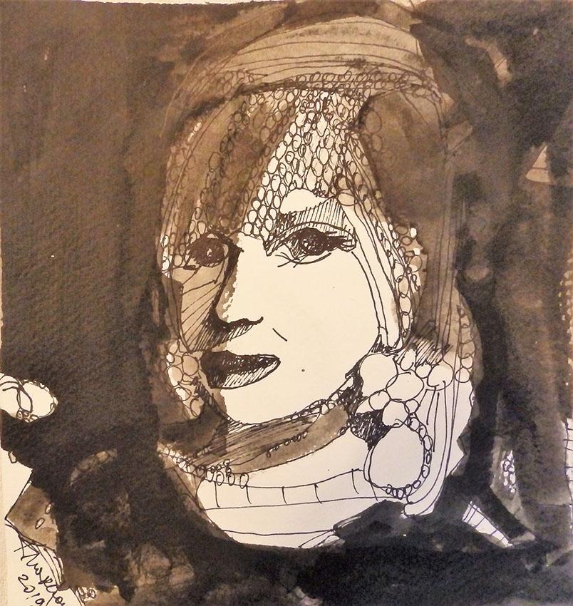 Rada Marković, iz ciklusa ''Žene isklesane kroz vjekove'', crtež 23, tuš, kombinirana tehnika, 25x25 cm