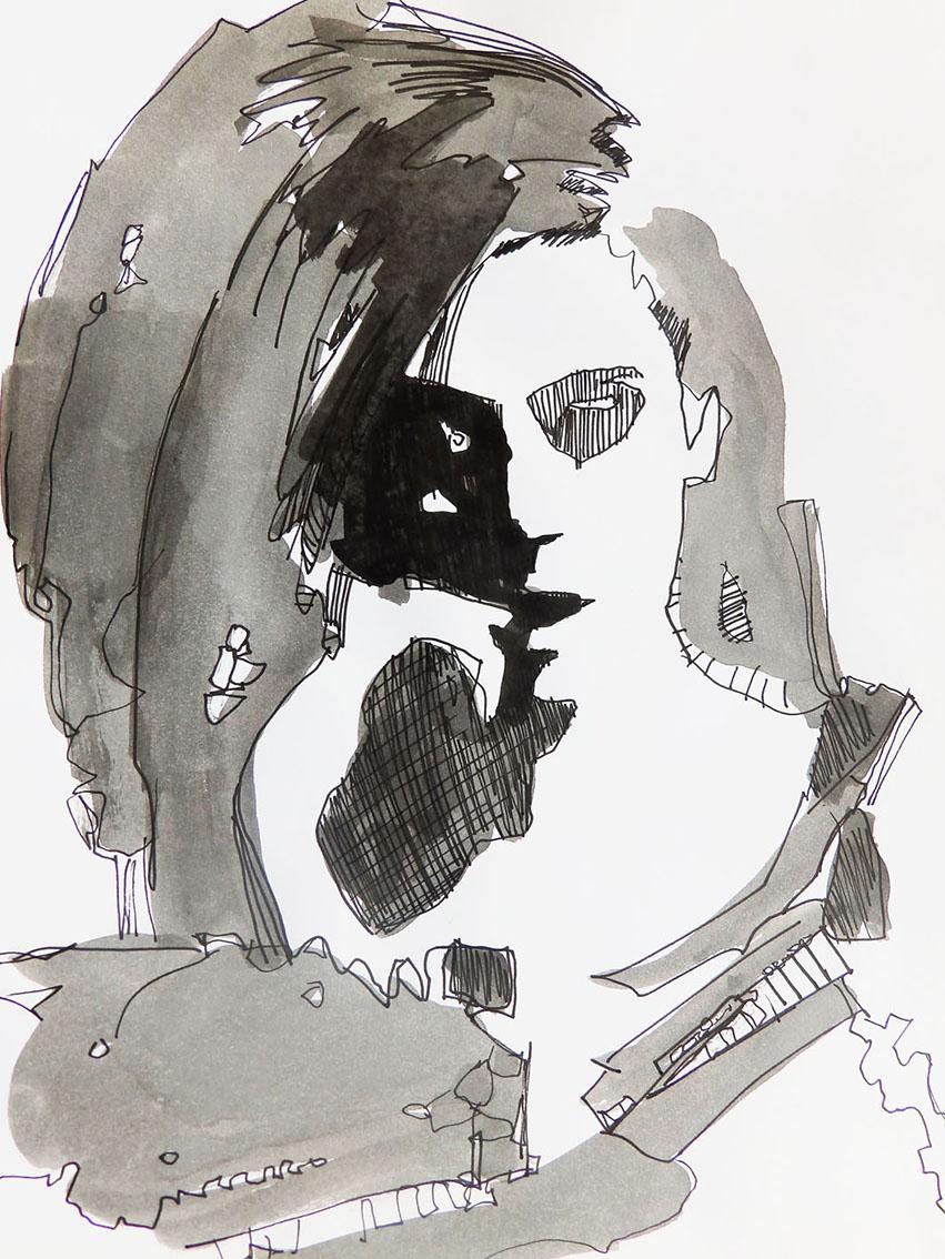 Rada Marković, ''Kao ona'', kombinirana tehnika na papiru, 29x21 cm
