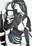 Rada Marković, iz ciklusa ''Žene isklesane kroz vjekove'', crtež 3, tuš, kombinirana tehnika, 29x21 cm