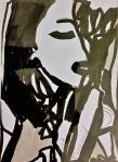 Rada Marković, iz ciklusa ''Žene isklesane kroz vjekove'', crtež 4, tuš, kombinirana tehnika, 29x21 cm