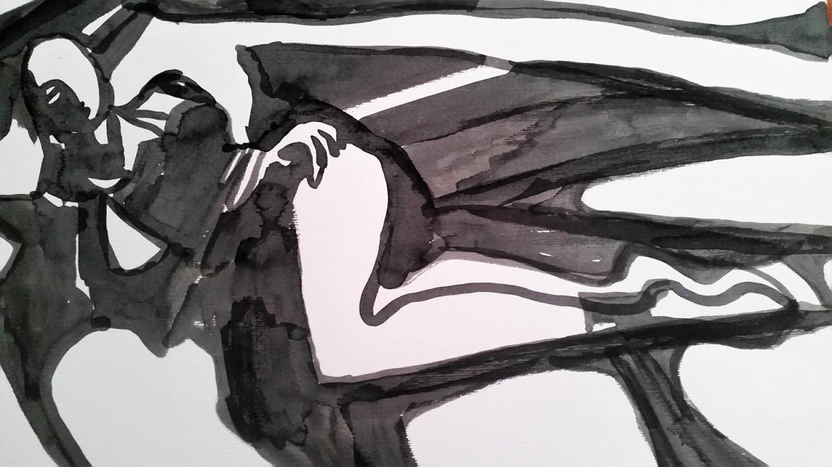 Rada Marković, iz ciklusa ''Žene isklesane kroz vjekove'', crtež 5, tuš, kombinirana tehnika, 29x21 cm