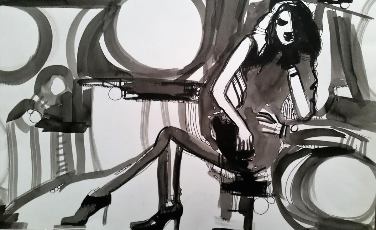 Rada Marković, iz ciklusa ''Žene isklesane kroz vjekove'', crtež 6, tuš, kombinirana tehnika, 21x29 cm
