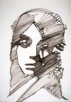 Rada Marković, iz ciklusa ''Žene isklesane kroz vjekove'', crtež 7, tuš, kombinirana tehnika, 29x21 cm