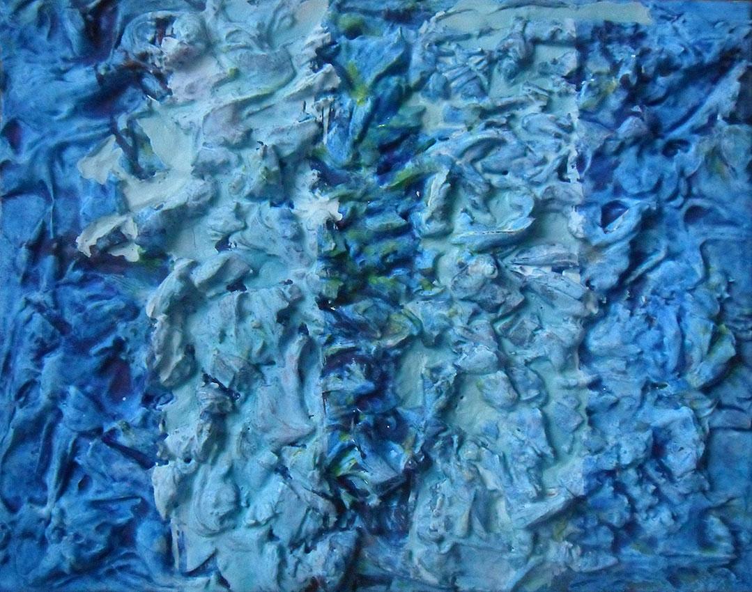 Andrej Zbašnik, ''Plavo'', kombinirana tehnika na platnu, 24×30 cm