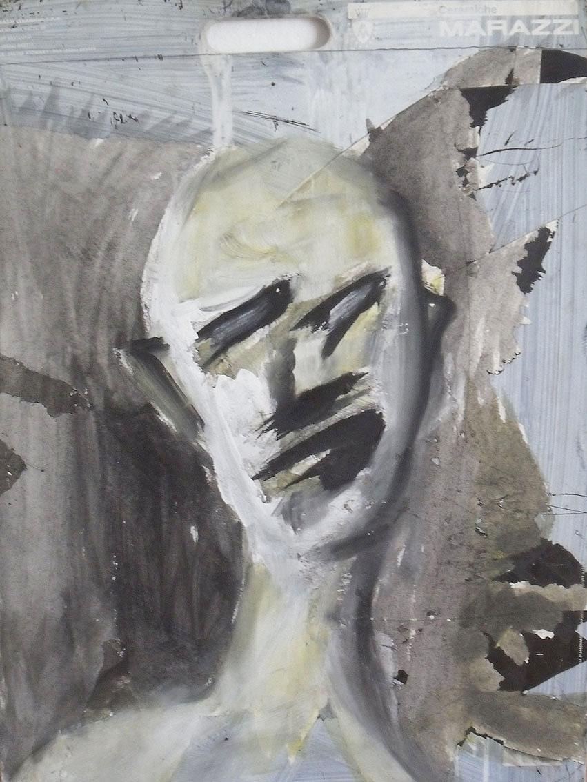 Andrej Zbašnik, ''Autoportret'', kombinirana tehnika na šperploči, 70x50 cm
