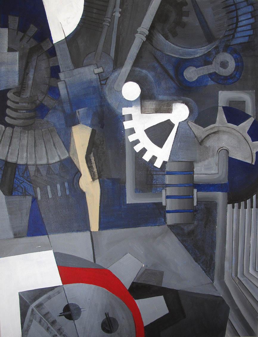 ''Pogled na svijet'', drveni ugljen i akrilne boje na ljepenci, 101,5 x 77 cm, 2015.